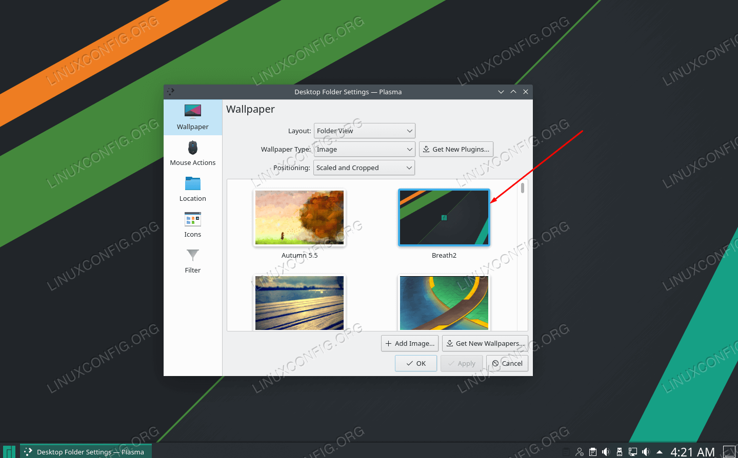 Wählen Sie eines der Standard-Hintergrundbilder aus oder fügen Sie Ihr eigenes hinzu