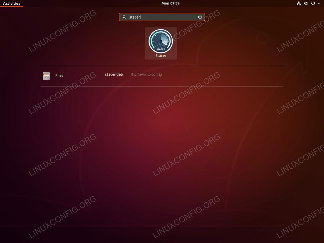Запустите Stacer на Ubuntu 18.04