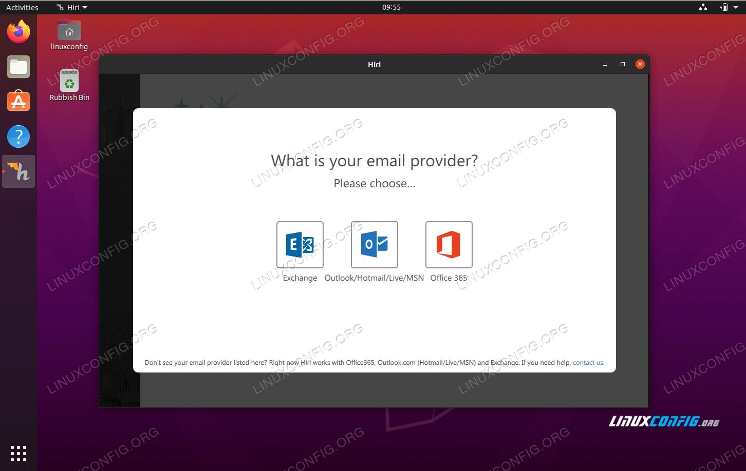 настольный почтовый клиент hiri на Ubuntu 20.04