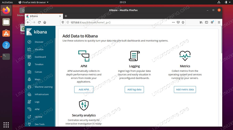 Полностью работоспособная панель управления Kibana на Ubuntu 20.04