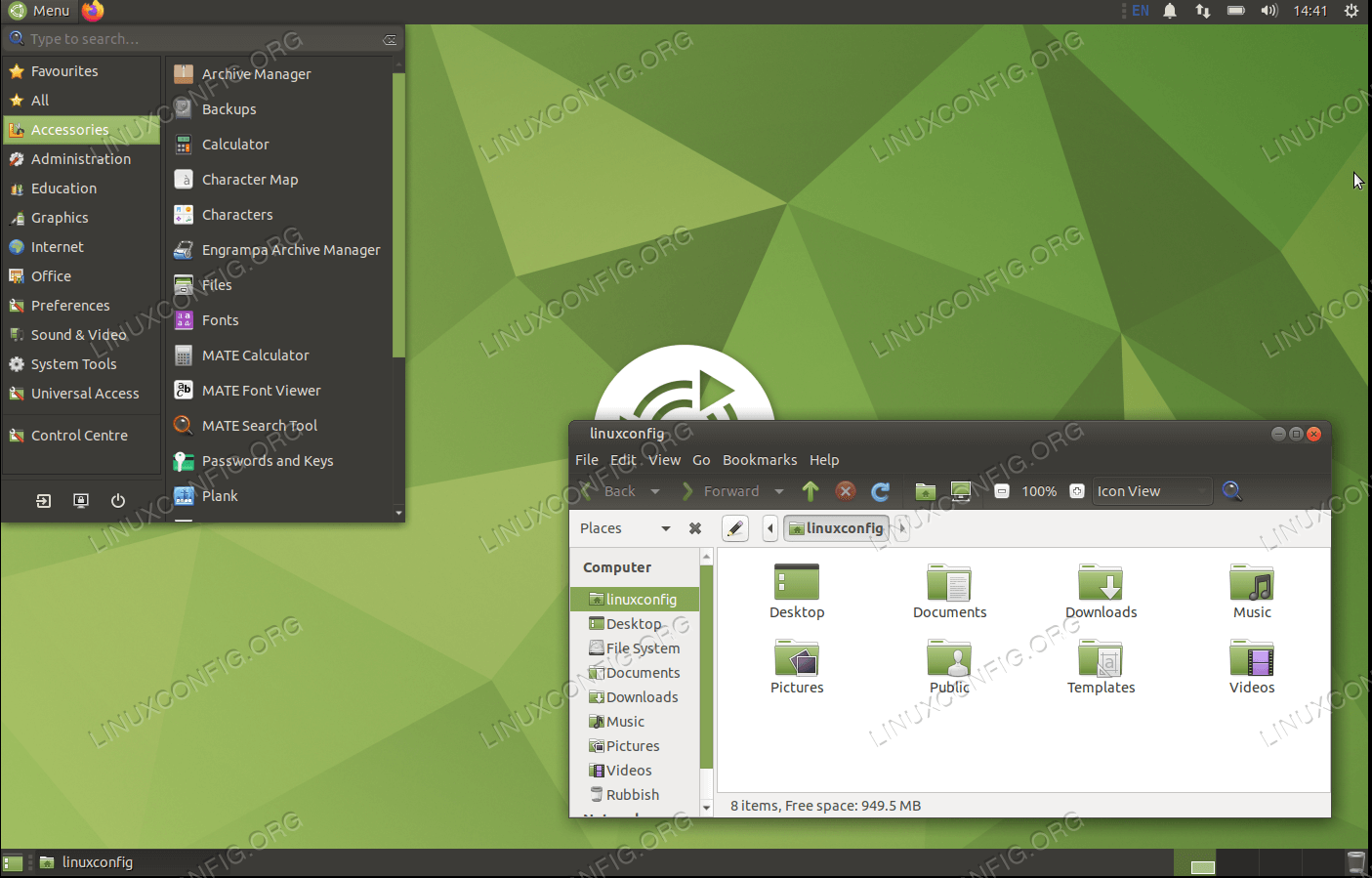 Рабочий стол MATE на Ubuntu 20.04 Focal Fossa Linux