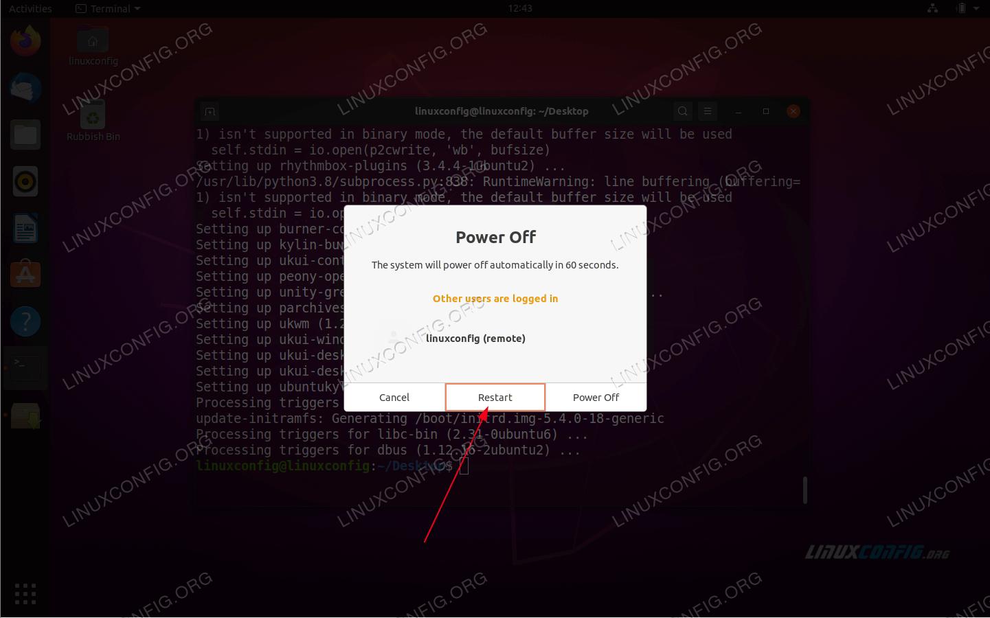 После завершения установки Kylin Desktop перезагрузите систему