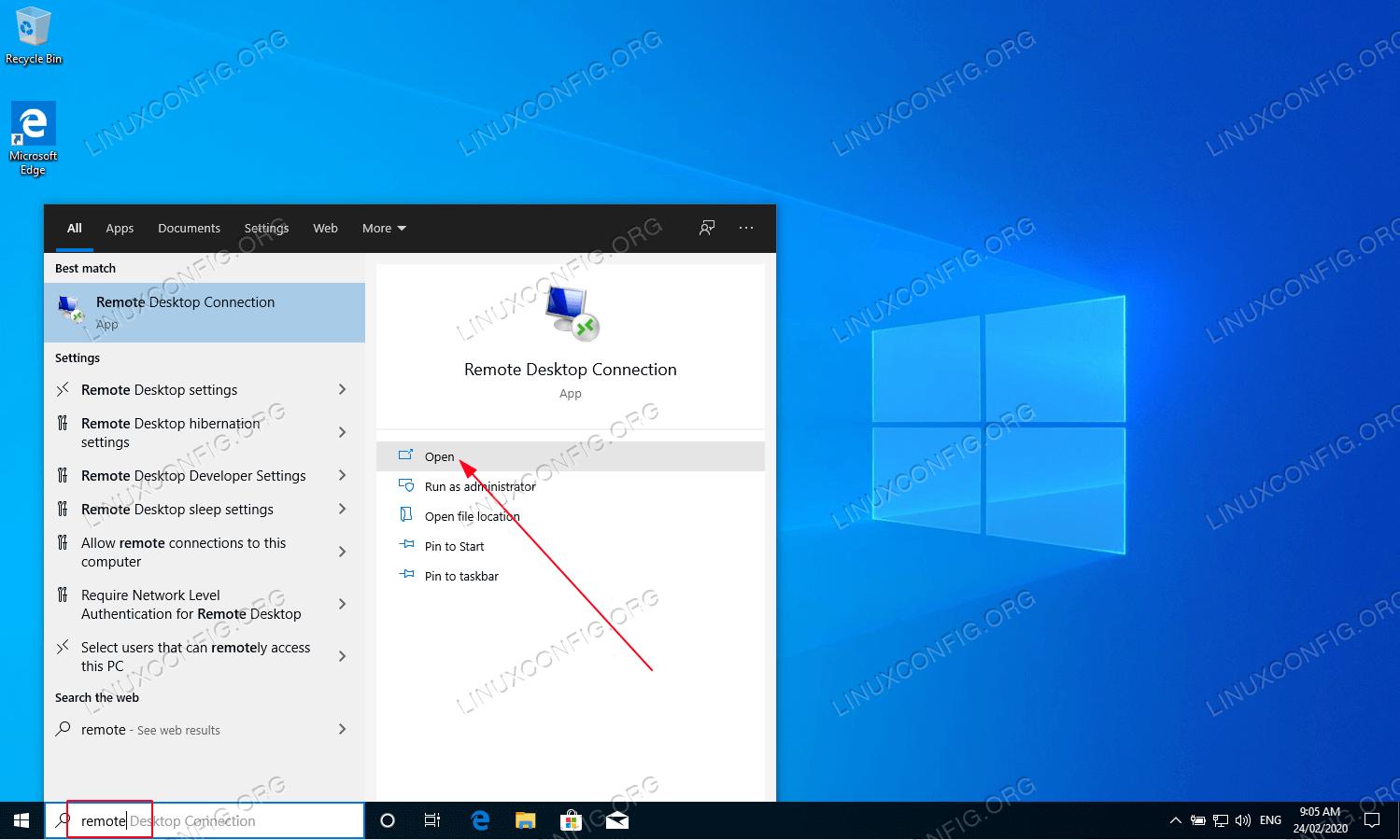 Vá para o host do Windows 10 e abra o cliente de Conexão de Área de Trabalho Remota.