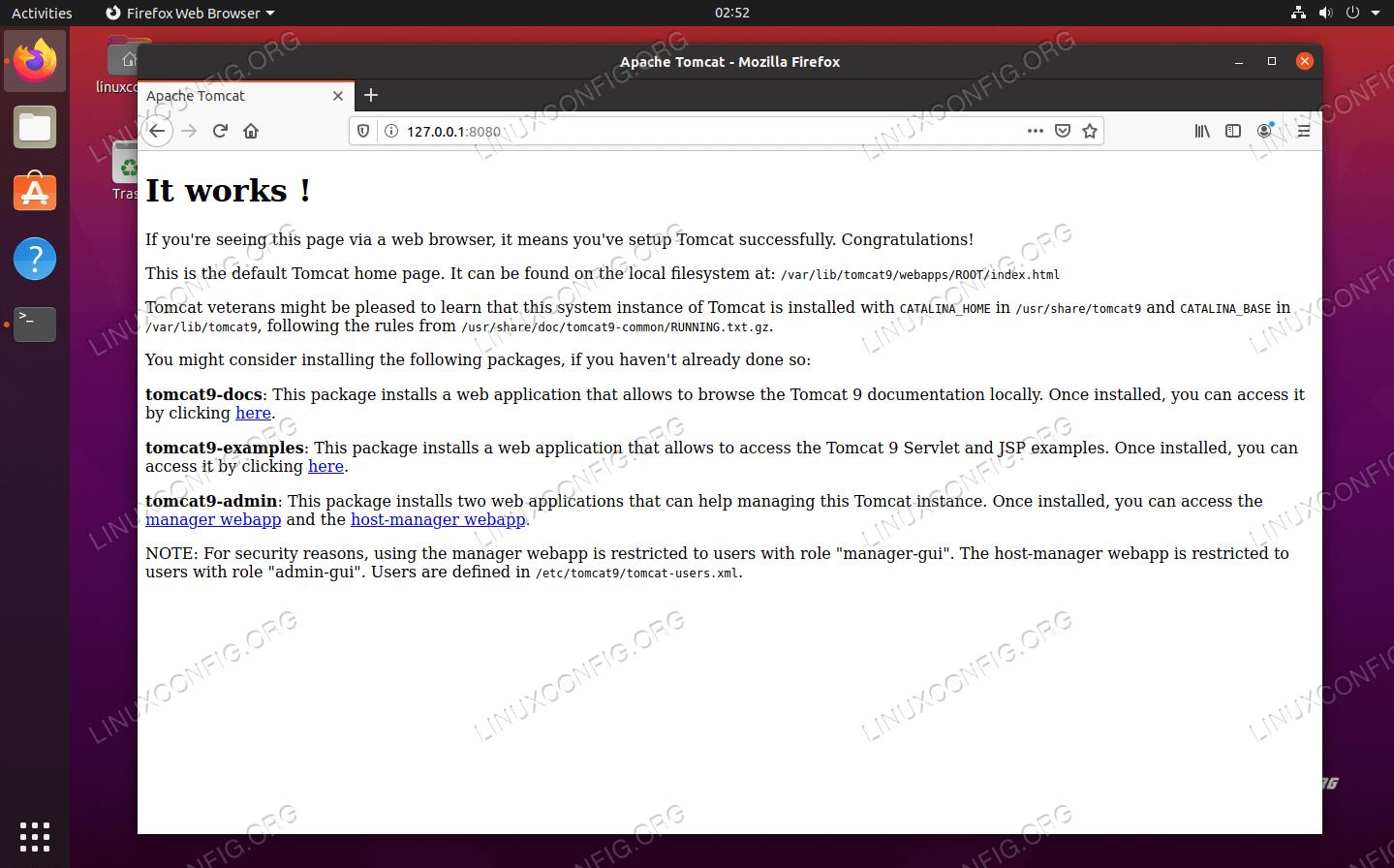 Apache Tomcat работает и подключается из браузера