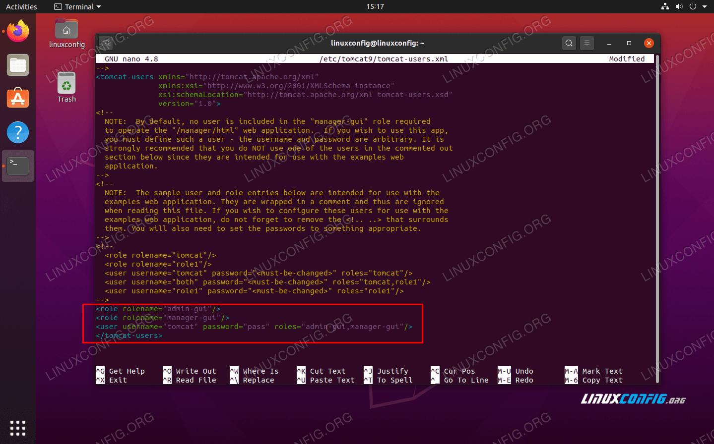 Редактирование XML-файла tomcat-users с учетными данными пользователя для доступа к интерфейсу администратора