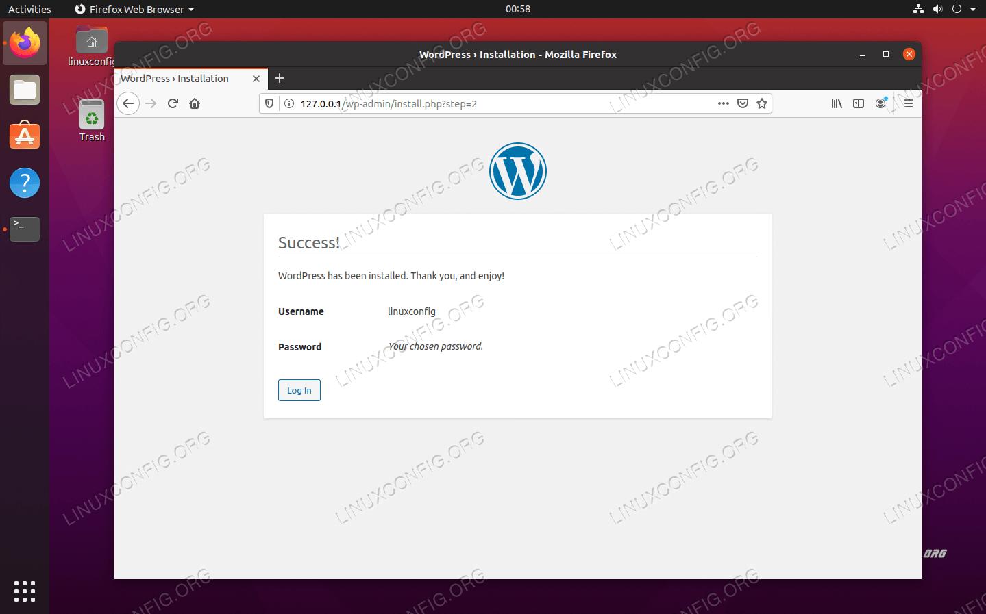 WordPressが正常にインストールされました。 ログインをクリックして管理メニューを探します