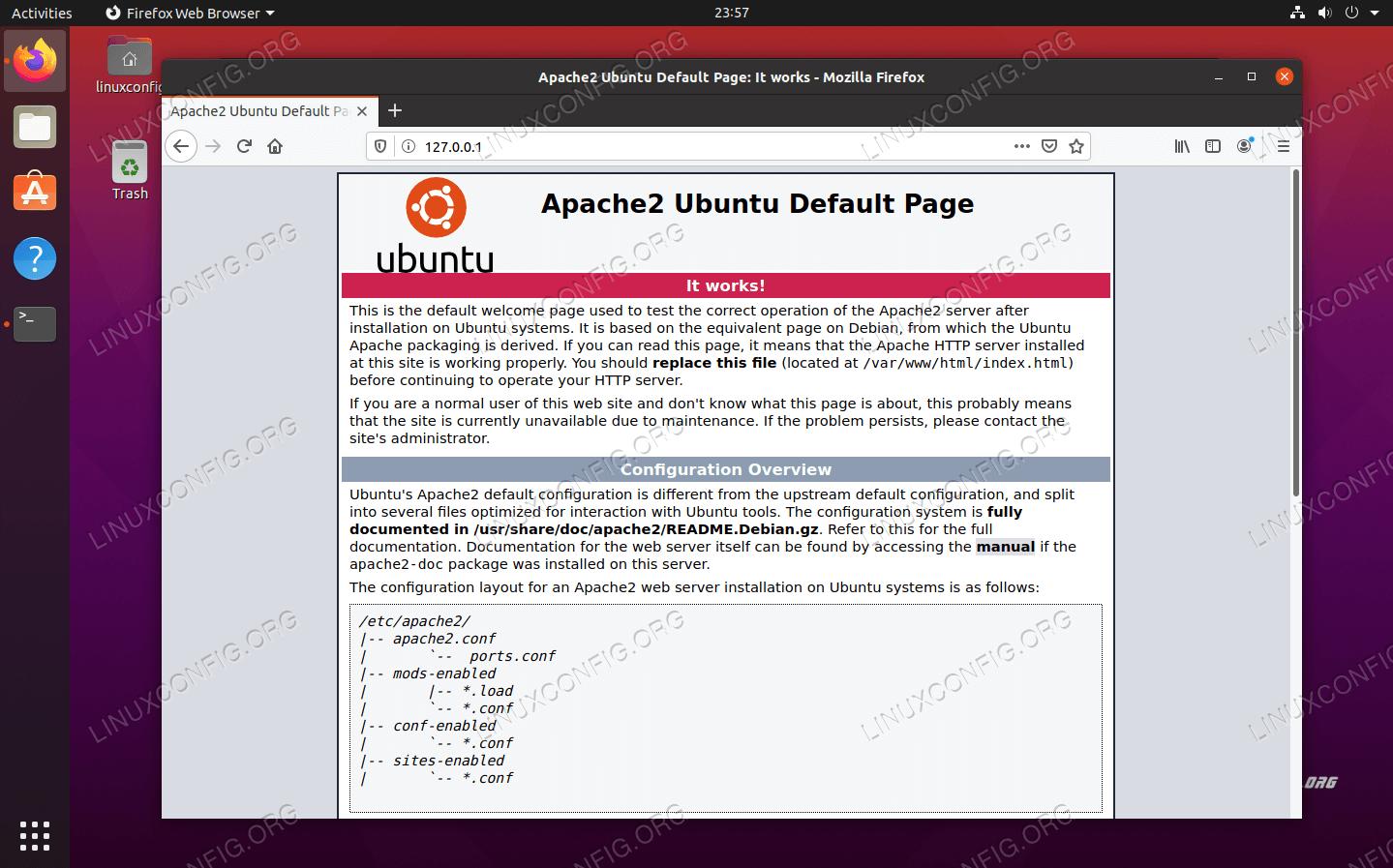 私たちのウェブサイトがアクセス可能であることを示すデフォルトのApacheページ