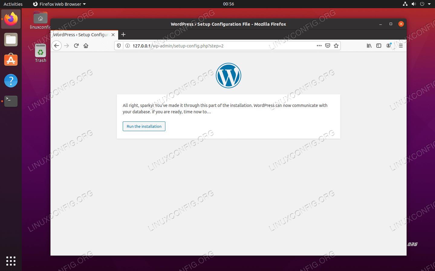 WordPressがMySQLデータベースに正常に接続しました