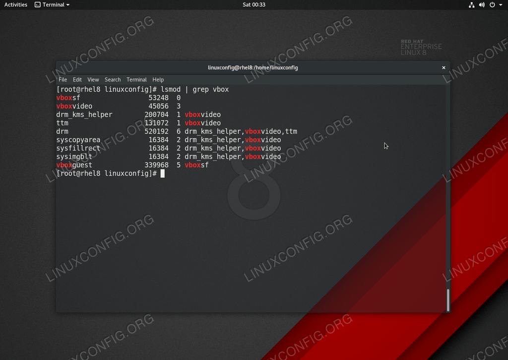Установленные гостевые дополнения Virtualbox на Linux RHEL 8 / CentOS 8